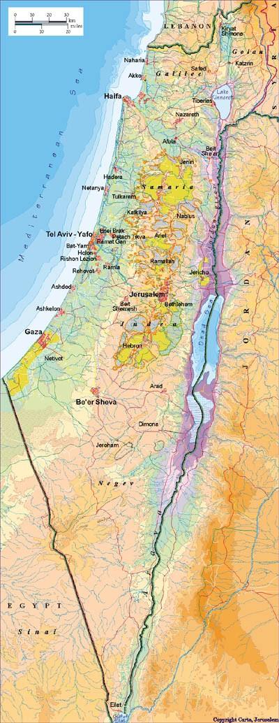 Karte Naher Osten Israel.Nahostkonflikt Israel Palastina